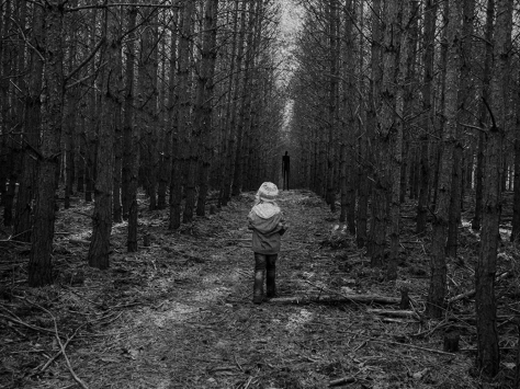 kid in path in forrest